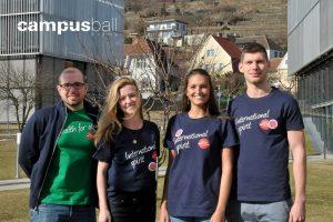 Marcella Manzl, Daniel Rausch, Carolin Schober und Dominik Noderer zum Campus-Ball Krems